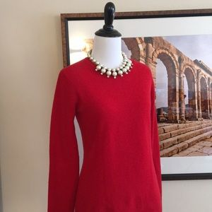 🌸 Peck & Peck cashmere sweater crew red Small